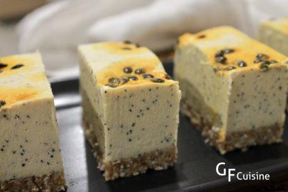 RAW Passionfruit Cheezcake slice